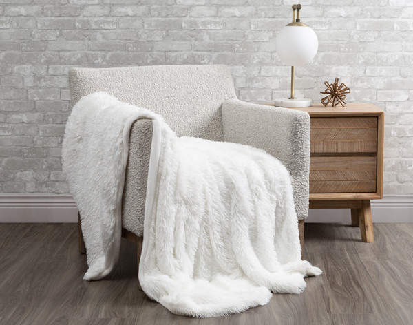Frosted Shaggy Throw in White.