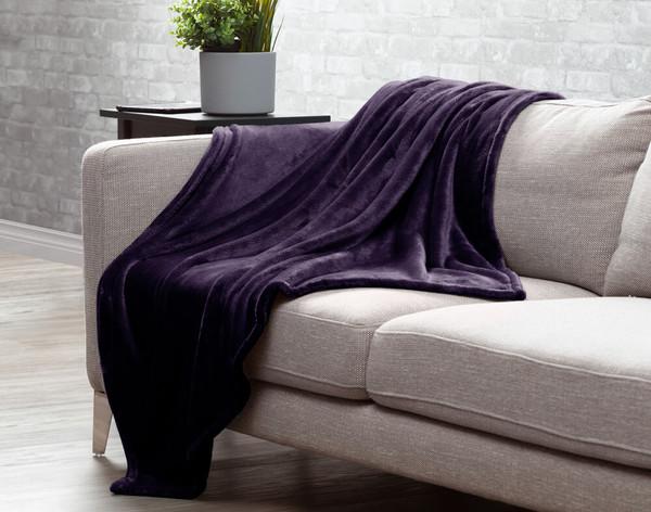 Velveteen Fleece Throw in Mulberry, a rich purple.