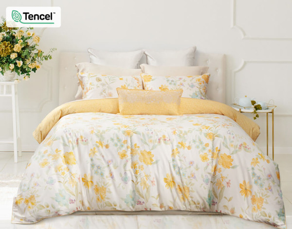 Alyssa Bedding Collection features wild yellow dahlias and daisies against a white backdrop.