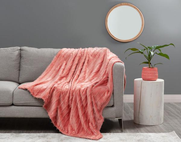 Fringe Velour Throw in Terracotta, an orangey pink.