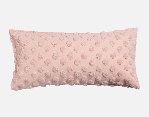 Tufted Boudoir Cushion Cover in Rose Smoke, a soft pastel pink.