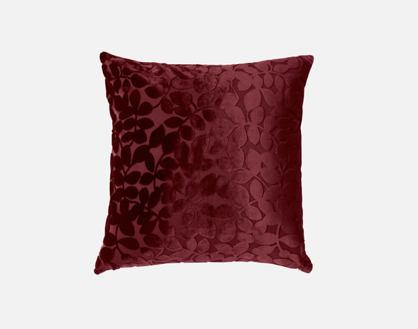 Velvet Vine Square Cushion in Garnet, a dark red.