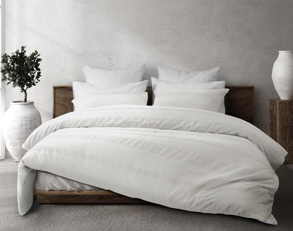Stonewashed Cotton Duvet Cover Set in White.