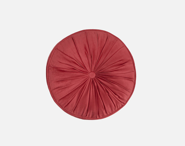 Round Corduroy Pillow in Terracotta, an earthy red