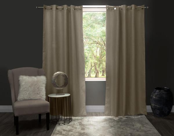 Linen Look Blackout Drapery Panel in Sand beige against window.