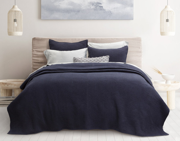 Breeze Oversized Cotton Quilt Set in Navy blue.