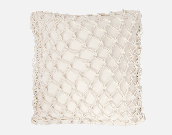 Belize Square Cushion Cover features a macrame knotted cover on a canavs background.