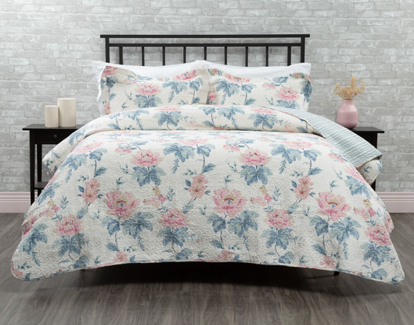 Lyra Cotton Quilt Set features pink and blue peonies, on an off-white background.
