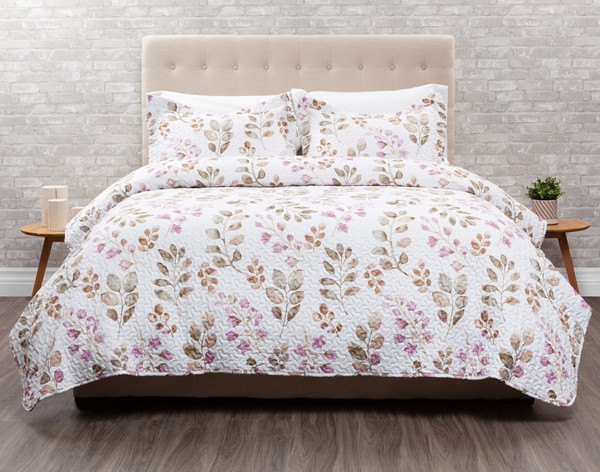 Ashgrove features pinks, purples, golds and light brown florals on a white background.