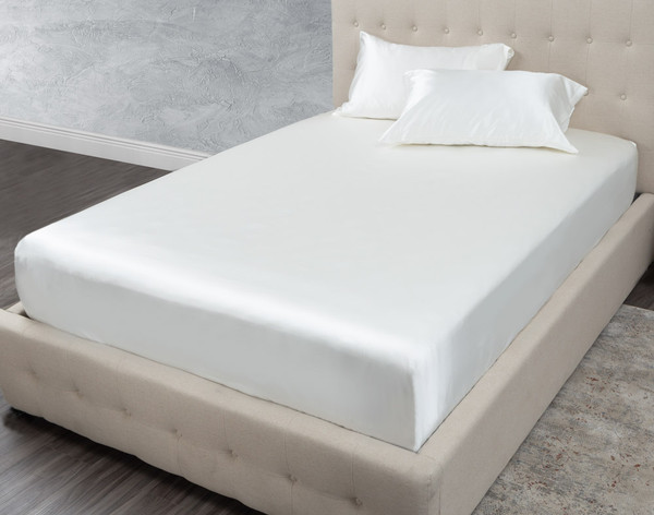 Verve Fitted Sheet shown with matching pillowcases (sold separately)
