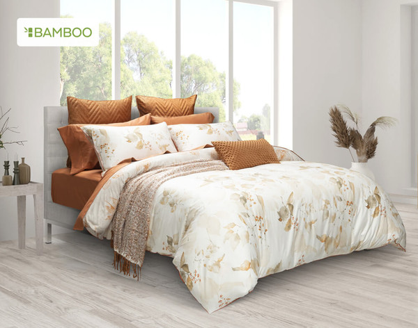Woodhaven Duvet Cover Set features hand painted beech tree branches in a soft autumn palette