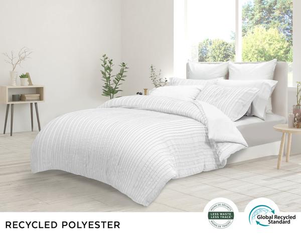 Maran White comforter set, side view in a bright pure white