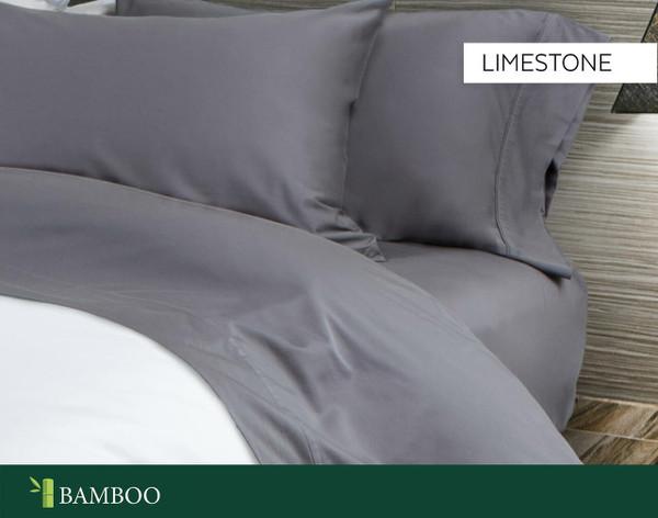 Bamboo Cotton Sheet Set in Limestone, a medium grey.
