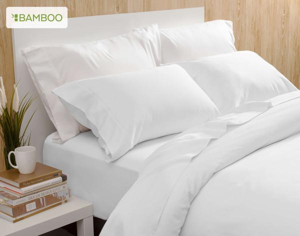 Bamboo Cotton Sheet set in White pillow detail