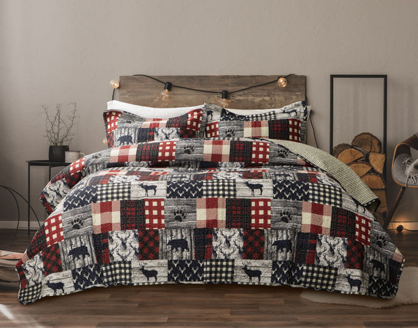 Our Purcell Cotton Quilt Set features a classic patchwork pattern of red plaid and grey & white animal designs.
