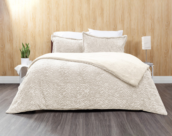 Faux Rabbit Plush Comforter Set in Natural, a soft white.
