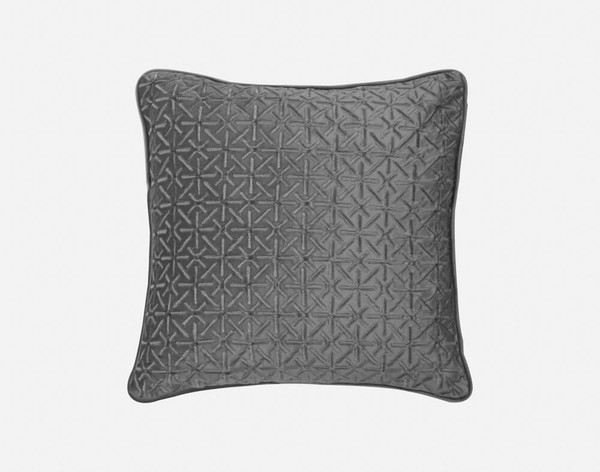 Front view of our Trellis Velvet Square Cushion Cover in Silver.