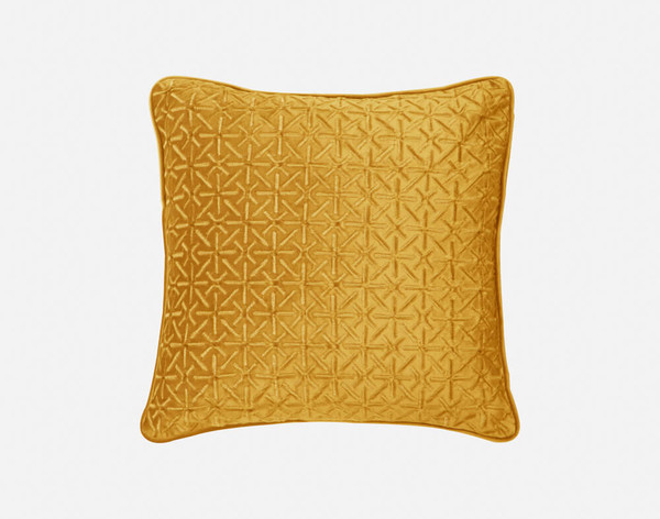 Front view of our Trellis Velvet Square Cushion Cover in Gold.