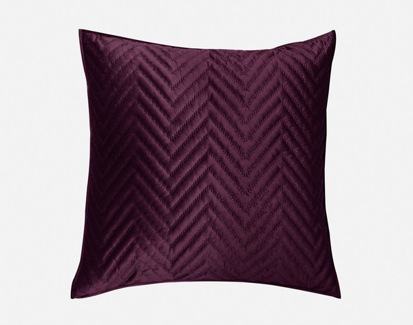 Front view of our Quilted Chevron Euro Sham in Plum.