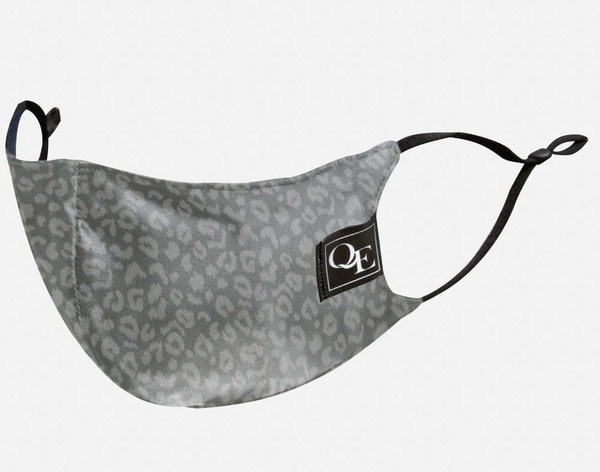 Silver Leopard Silk Face Mask features adjustable straps for a snug fit.