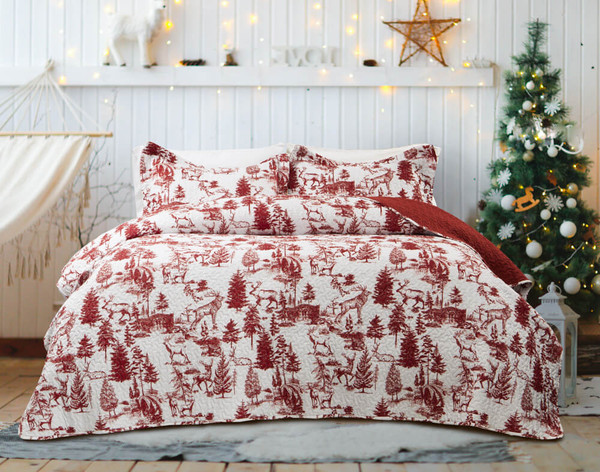 Huntsman Coverlet Set, featuring Moose, trees in red on a solid white background