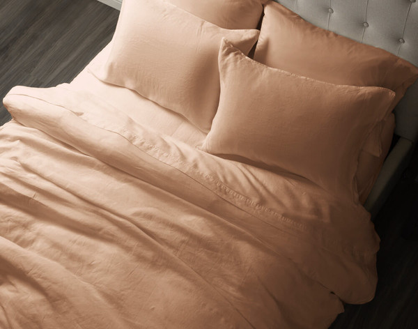 Top view of Vintage Washed European Linen Duvet Cover in Clay.