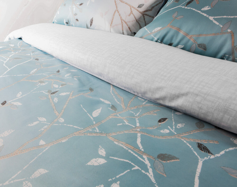 Close up of print on Hazelwood Bedding Collection.
