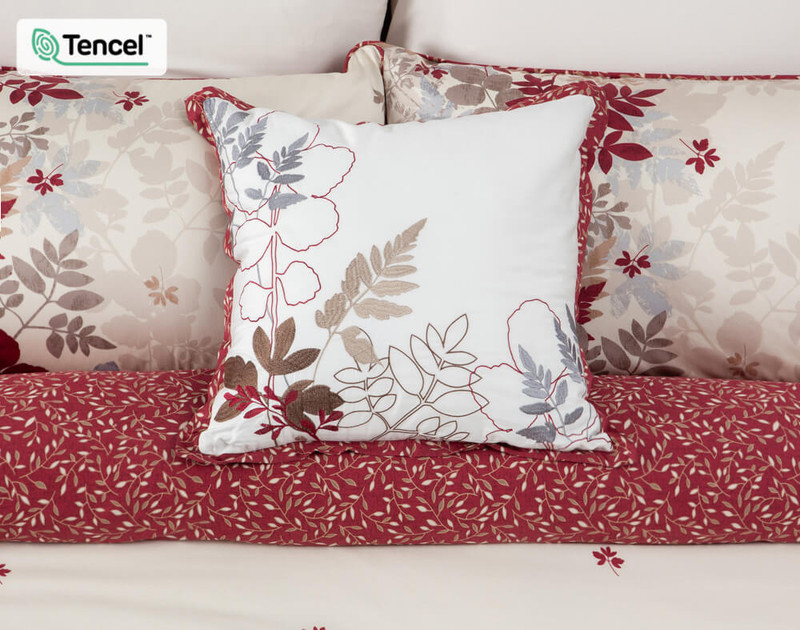 Aubrey Square Cushion Cover features embroidered leaf detailing