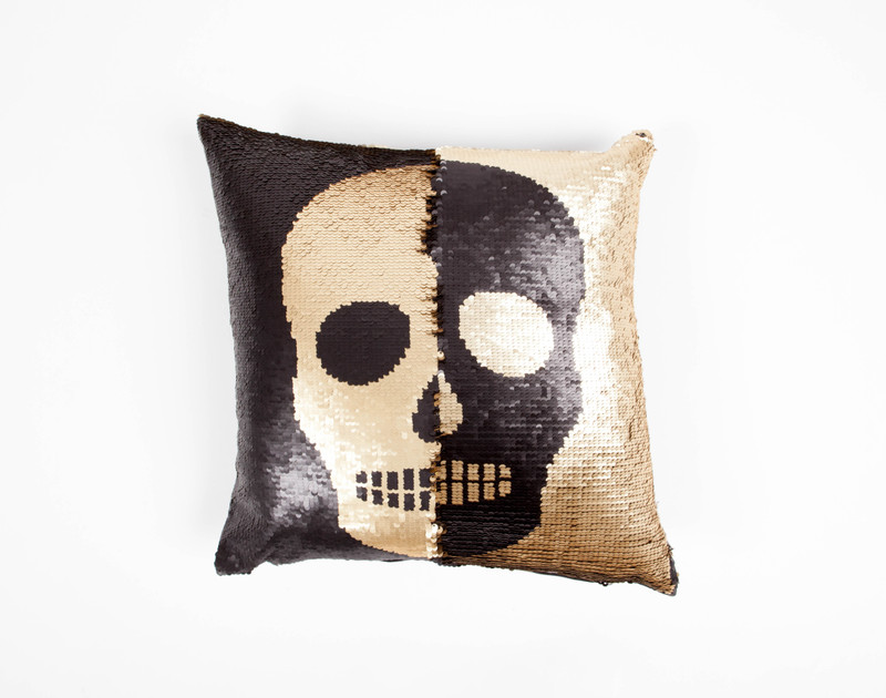 Sequin Cushion Cover - Skull