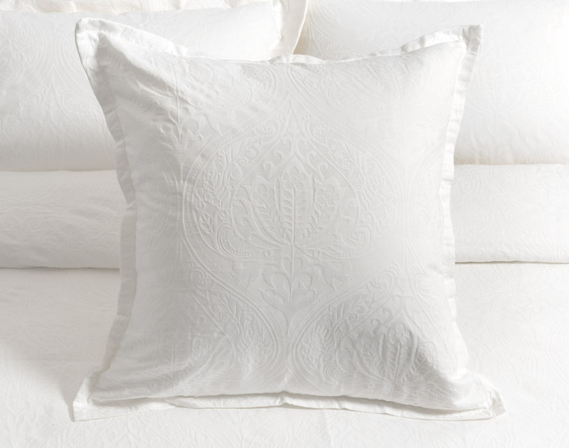 Astoria White Euro Sham with one inch flange on bed