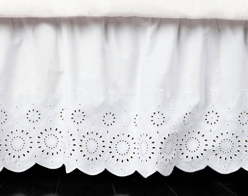 Ruffled Eyelet Bedskirt is made from 50% cotton and 50% polyester while the deck is 100% polyester.