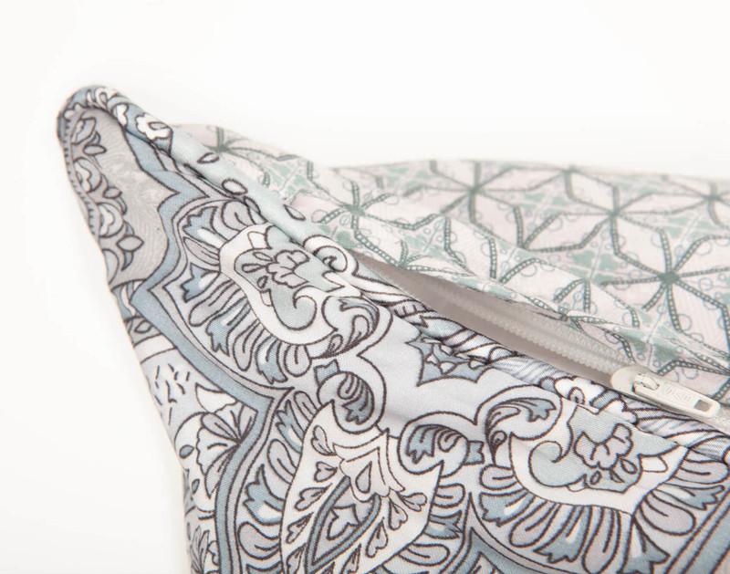 Danube Pillow Sham corner and zipper closure close-up