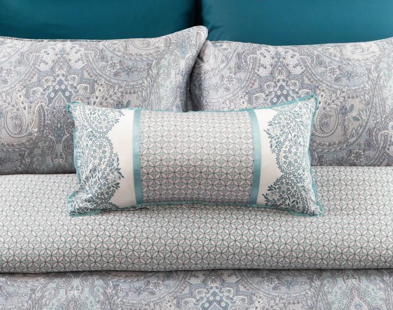 Danube Boudoir Cushion on bed