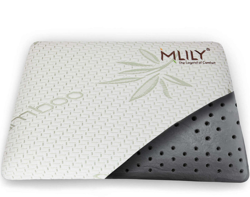 MLILY® Bamboo Charcoal Memory Foam Pillow interior view.