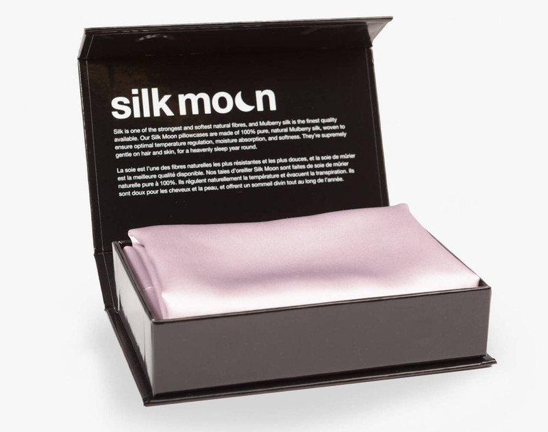 100% Mulberry Silk Pillowcase in Lavender Purple in box.