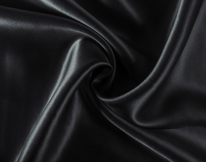 Close up of 100% Mulberry Silk Pillowcases in Black material