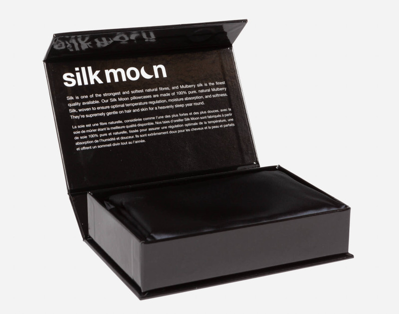 100% Mulberry Silk Pillowcases in Black folded in Silk Moon Box