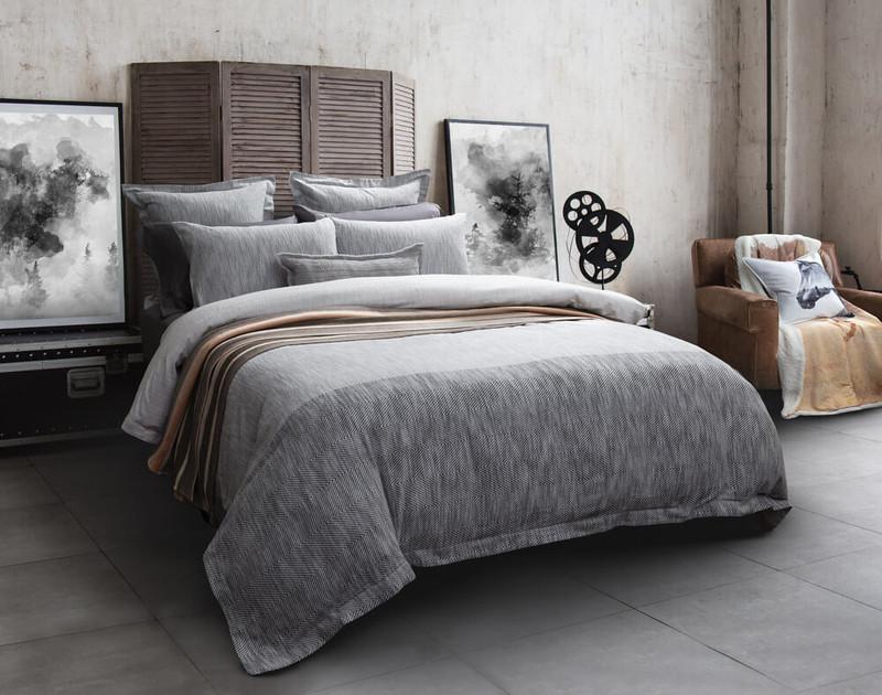 Sheldon Duvet Cover in grey bedroom