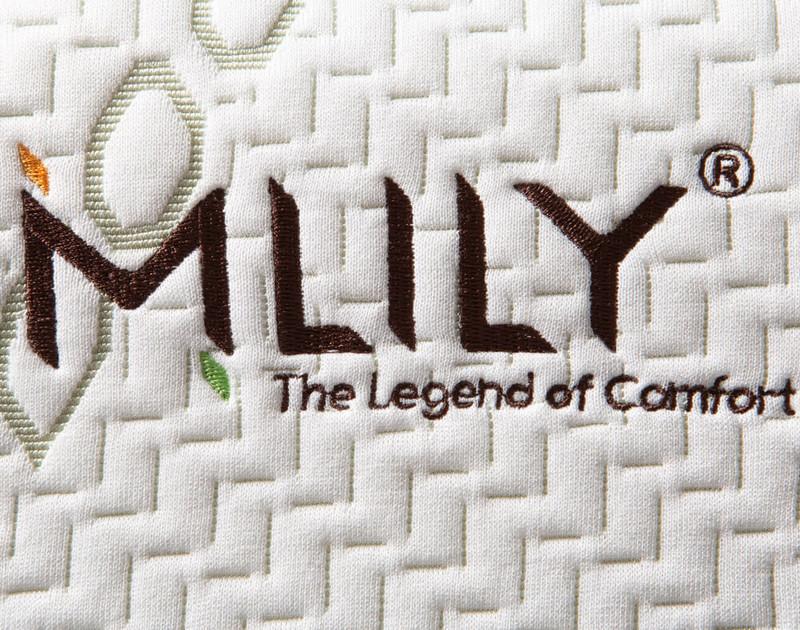 MLILY® Bamboo Contour Memory Foam Pillow close-up of logo.