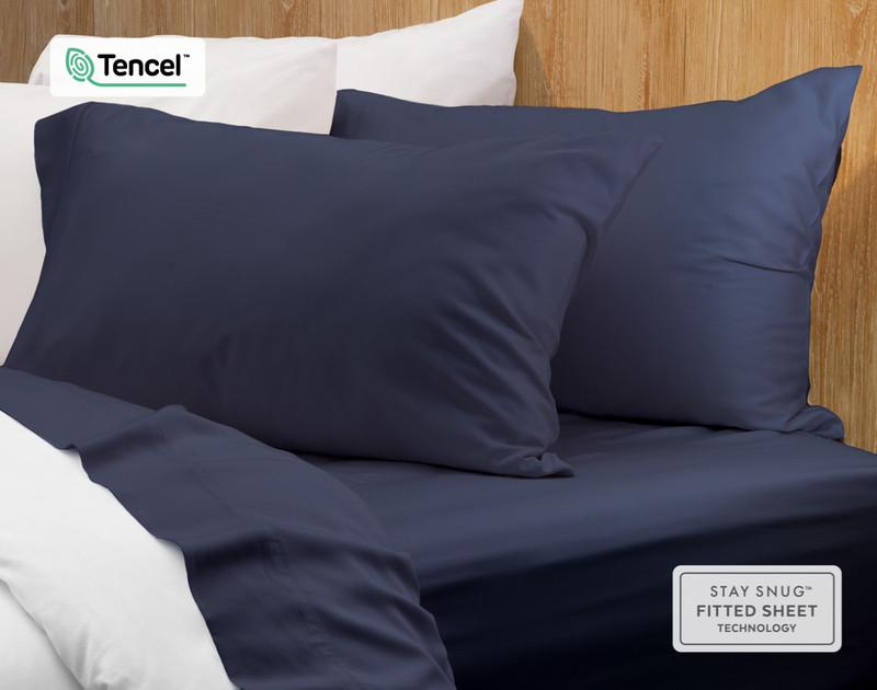Eucalyptus Luxe Pillowcases - Navy (Set of 2)
