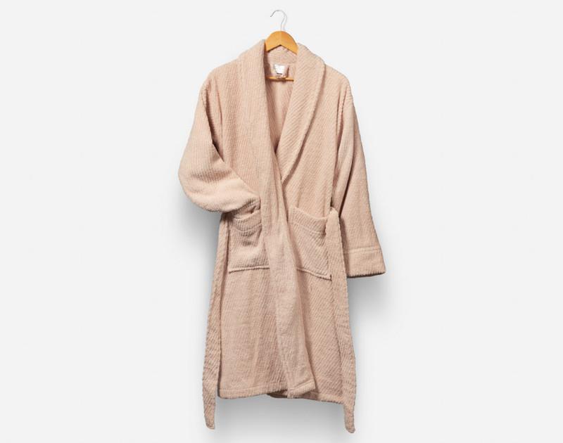 Cotton Bathrobe in Blush, a pale pink.