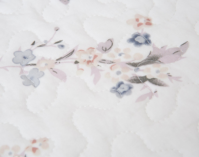 Close up of the Cotton shell and botanical print.