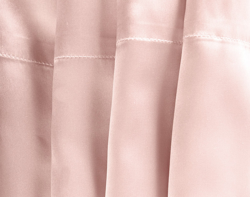 Close up of 100% Mulberry silk pillowcase material and trim