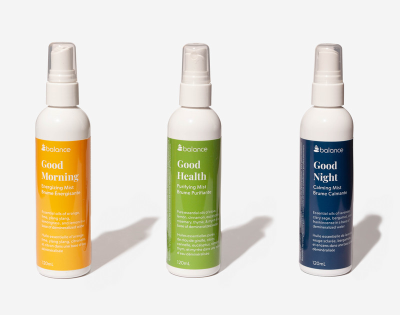 Essential Oil Mists including Good Morning, Good Health, and Good Night