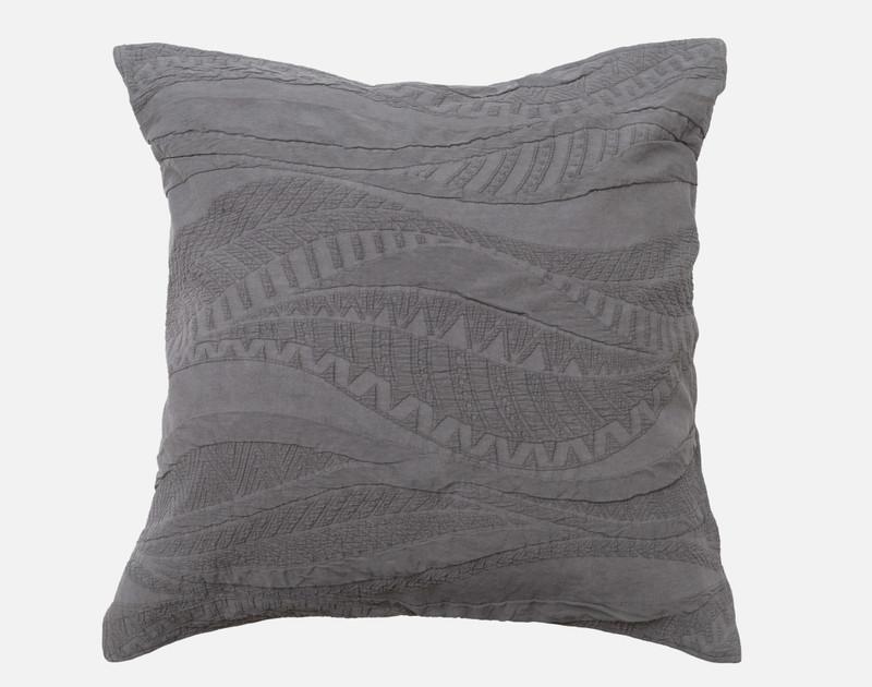 Noa Euro Sham in shades of charcoal grey.