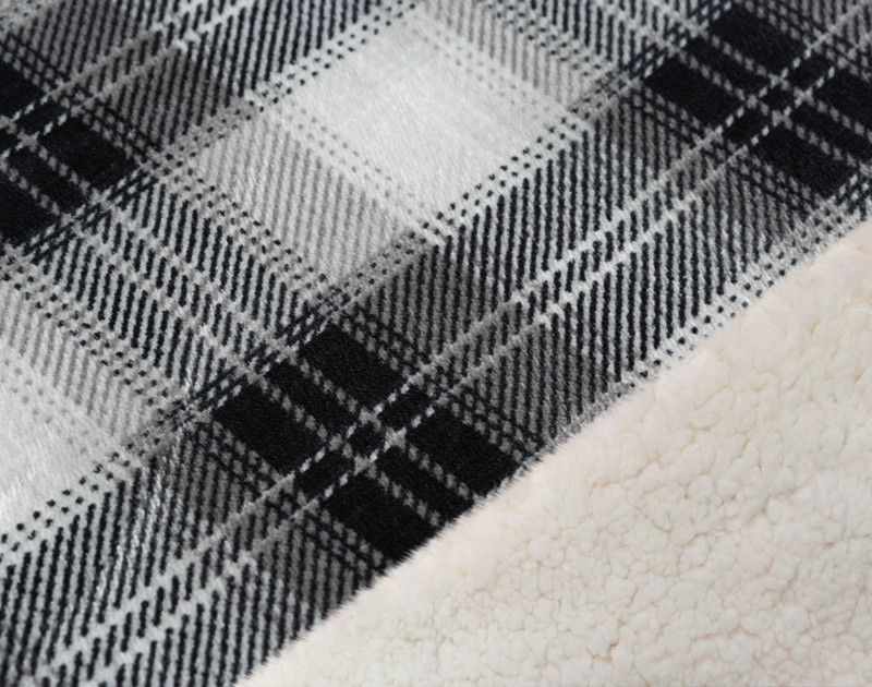 Close up of Plaid Sherpa Blanket in Charcoal