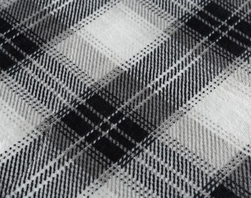 Plaid Sherpa Blanket - Charcoal