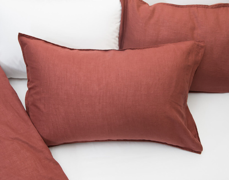 Linen Blend Pillowcases in Apple Butter Red