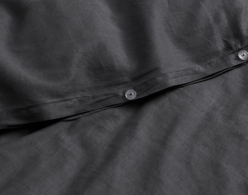 Close-up of Linen Blend Duvet Cover Set in Charcoal Grey Button Closure