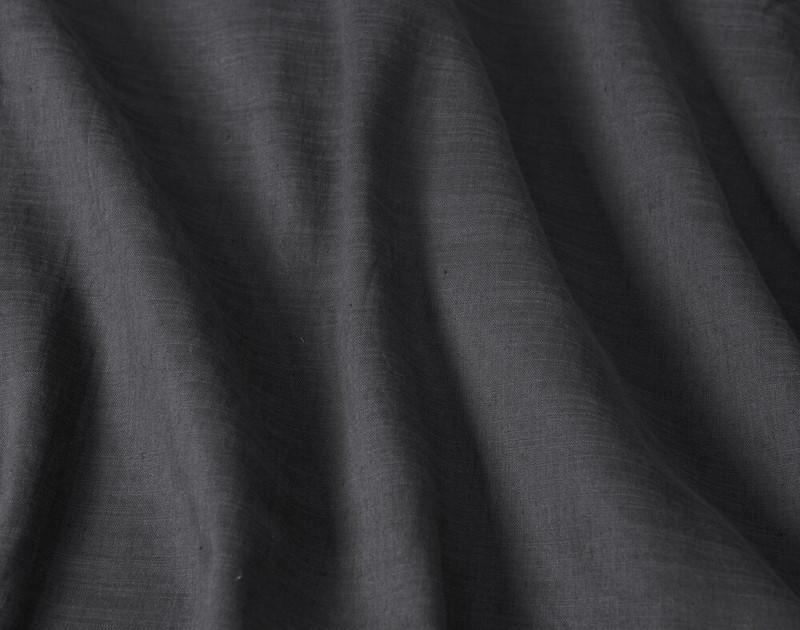 Close-up of Crinkled Linen Blend Duvet Cover in Charcoal Grey